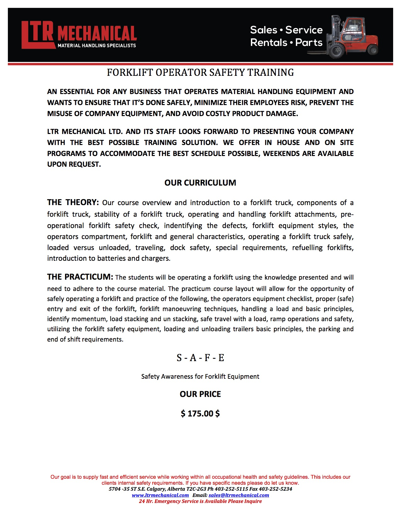 Forklift Operator Safety Training Information Image